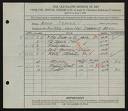 Entry card for Seaver, Hugh for the 1930 May Show.