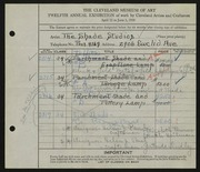 Entry card for Shade Studios, and Burns, Elizabeth; Heilman, Ruth; Paul, Helen J.; Lindley, Gertrude for the 1930 May Show.