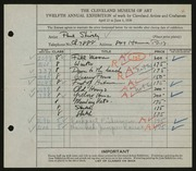 Entry card for Shively, Paul for the 1930 May Show.