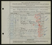 Entry card for Siebold, Chester for the 1930 May Show.