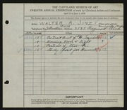 Entry card for Sinz, Walter A. for the 1930 May Show.