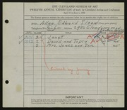 Entry card for Sloan, Allan E. for the 1930 May Show.