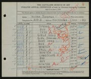 Entry card for Sommer, William for the 1930 May Show.