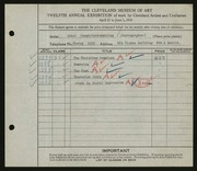 Entry card for Standiford-Mehling, Ethel for the 1930 May Show.