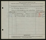 Entry card for Stanley-Brown, R. (Rudolph) for the 1930 May Show.