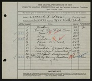 Entry card for Stern, Leonard X. for the 1930 May Show.