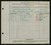 Entry card for Strejcek, William G. for the 1930 May Show.