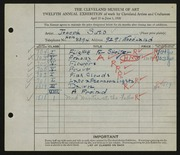 Entry card for Suto, Joseph for the 1930 May Show.