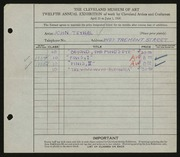 Entry card for Teyral, John for the 1930 May Show.