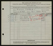Entry card for Tiberg, Wiktor for the 1930 May Show.