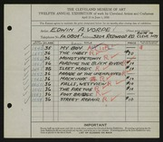 Entry card for Vorpe, Edwin A. for the 1930 May Show.