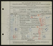 Entry card for Walz, Ludwig for the 1930 May Show.