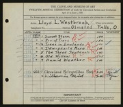 Entry card for Westbrook, Lloyd L. for the 1930 May Show.
