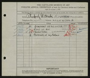 Entry card for Witonski, Theodore J. for the 1930 May Show.