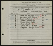 Entry card for Wolff, Arthur F. for the 1930 May Show.