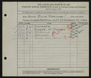Entry card for Yingling, Anna Ruth for the 1930 May Show.