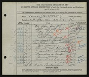 Entry card for Young, Jay Quinter for the 1930 May Show.