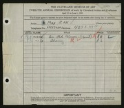 Entry card for Zak, Maxmillian for the 1930 May Show.