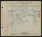 Entry card for Adomeit, George G., and Caxton Company for the 1931 May Show.