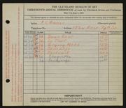 Entry card for Baker, F. C. for the 1931 May Show.