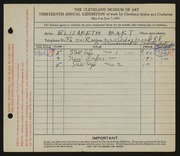 Entry card for Gerald, Elizabeth Bart for the 1931 May Show.