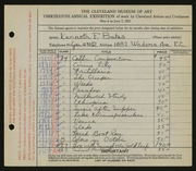 Entry card for Bates, Kenneth F. for the 1931 May Show.
