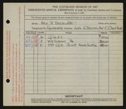 Entry card for Beckwith, Ada Bell for the 1931 May Show.