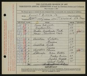 Entry card for Biehle, August F. for the 1931 May Show.