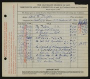 Entry card for Binder, Carl for the 1931 May Show.
