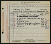 Entry card for Blazy, Sterling for the 1931 May Show.