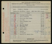 Entry card for Boersig, Joseph A. for the 1931 May Show.