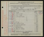 Entry card for Boza, Daniel for the 1931 May Show.