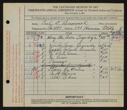 Entry card for Broemel, Carl William for the 1931 May Show.