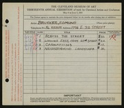 Entry card for Brucker, Edmund for the 1931 May Show.