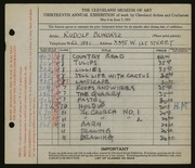Entry card for Bundasz, Rudolph for the 1931 May Show.