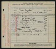Entry card for Campbell, Charles M. for the 1931 May Show.