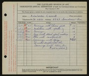 Entry card for Carroll, Adelaide for the 1931 May Show.