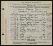 Entry card for Carter, Clarence Holbrook for the 1931 May Show.