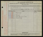 Entry card for Case, R.C. for the 1931 May Show.