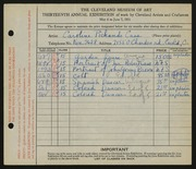 Entry card for Cass, Caroline Pickands for the 1931 May Show.