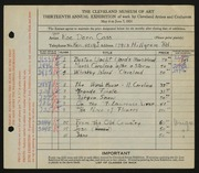 Entry card for Cass, Katherine Dorn for the 1931 May Show.