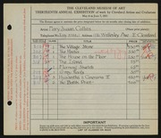 Entry card for Collins, Mary Susan for the 1931 May Show.