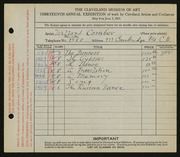 Entry card for Combes, Willard Wetmore for the 1931 May Show.