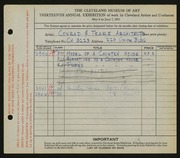 Entry card for Conrad & Teare, Architects for the 1931 May Show.