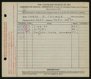 Entry card for Coombe, George B. for the 1931 May Show.