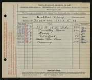Entry card for Craig, Walter for the 1931 May Show.