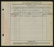 Entry card for Cunningham, Mary Phillips for the 1931 May Show.