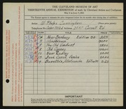 Entry card for Cunningham, William Phelps for the 1931 May Show.