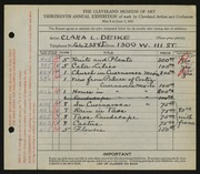 Entry card for Deike, Clara L. for the 1931 May Show.