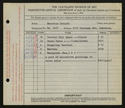 Entry card for Detlefs, Beatrice for the 1931 May Show.